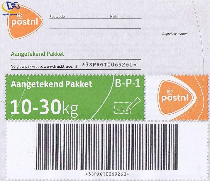 Aangetekende 30kg pakketzegel